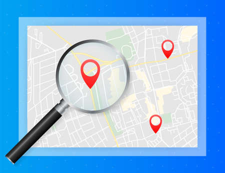 Geo map and zoom lens. City map on color background. Vector illustration