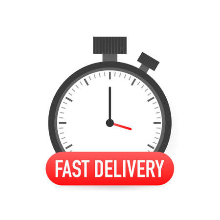Express delivery service badge. Fast time delivery order with stopwatch on white background. Vector illustration