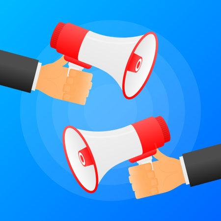 Hands hold two red megaphones. Flat loudspeacker on blue background. Vector illustration