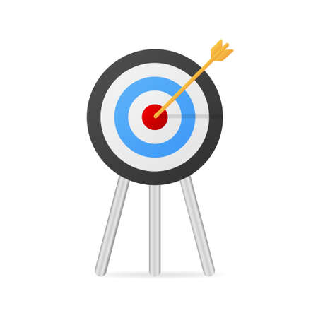 Target with an arrow flat icon concept market goal picture image on blue background. Vector illustration