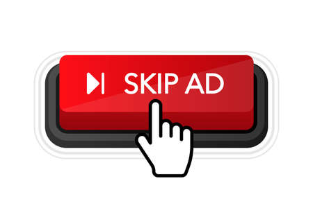 Skip ad red button on white background. Hand mouse. Flat 3D button. Vector illustration