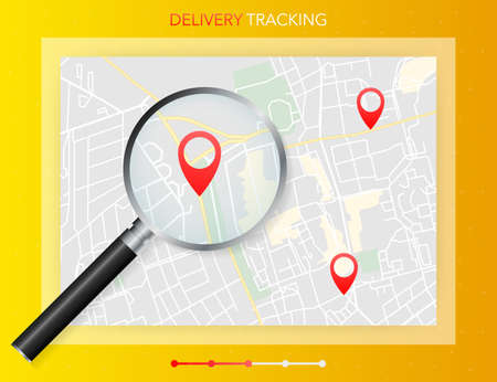 Geo map and zoom lens. Delivery tracking. City map on color background. Vector illustration