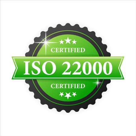 ISO certified 22000 green rubber stamp with green rubber on white background. Realistic object. Vector illustration Vettoriali
