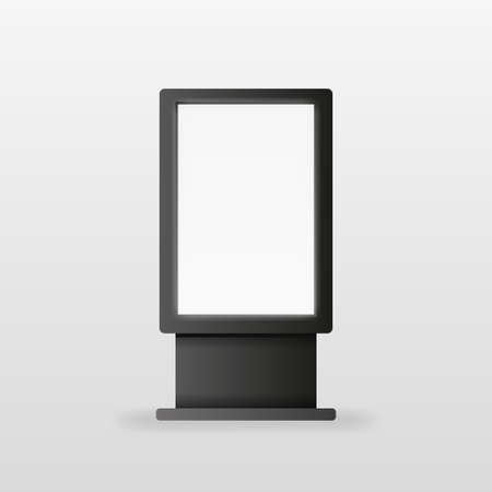 Advertising billboard screen in black color on white background. Realistic object. Vector illustration