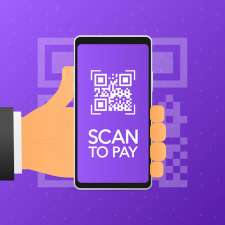 Hand holds phone with scan qr code to pay qr code on screen. Phone on violet background. Vector illustration
