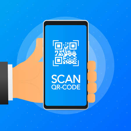 Hand holds phone with scan qr code on screen. Phone on blue background. Vector illustration