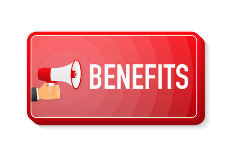 Benefits megaphone red banner in 3D style on white background. Hand holds loudspeacker. Vector illustration
