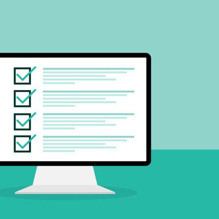 Online exam on green background. Vector illustration