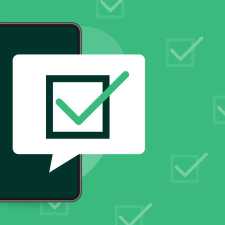 Line survey laptop in flat style green background. Vector icon. Vector flat. Line icon. Computer screen. Vecteurs