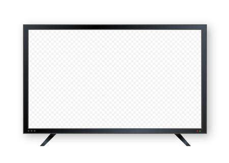 Flat monitor wall. Perspective vector. Vector icon. Media technology. Blank screen isolated. Black frame.