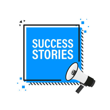 Success stories megaphone blue banner in 3D style on white background. Vector illustration.