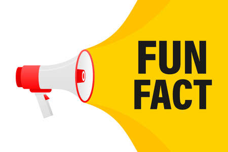 Fun fact feedback megaphone yellow banner in 3D style on white background. Vector illustration.