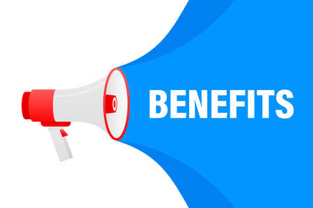 Benefits megaphone blue banner in 3D style on white background. Vector illustration.