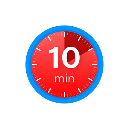 The 10 minutes, stopwatch vector icon. Stopwatch icon in flat style on a white background. Vector stock illustration.