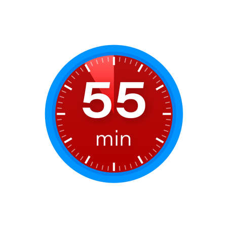 The 55 minutes, stopwatch vector icon. Stopwatch icon in flat style on a white background. Vector stock illustration.  イラスト・ベクター素材