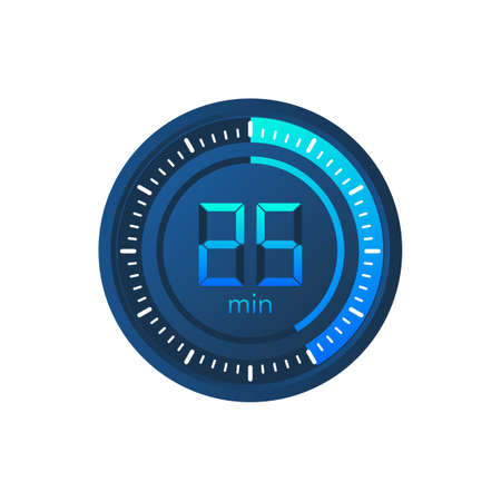 The 25 minutes, stopwatch vector icon. Stopwatch icon in flat style on a white background. Vector stock illustration.  イラスト・ベクター素材