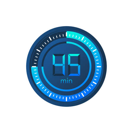 The 45 minutes, stopwatch vector icon. Stopwatch icon in flat style on a white background. Vector stock illustration.