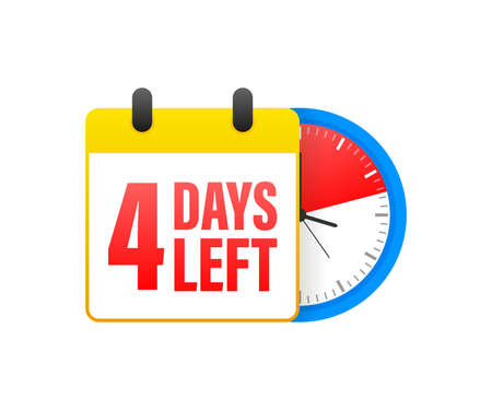 4 days left calendar. Clock icon symbol illustration. Holiday concept. Timer icon symbol illustration. Vector sign. Countdown calendar. Vektorové ilustrace