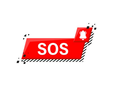 Alarm bell and SOS lettering icon isolated on white background. Warning bell, help sign. Flat design. Vector Illustration.