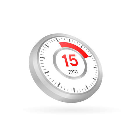 The 15 minutes, stopwatch vector icon. Stopwatch icon in flat style on a white background. Vector stock illustration.  イラスト・ベクター素材