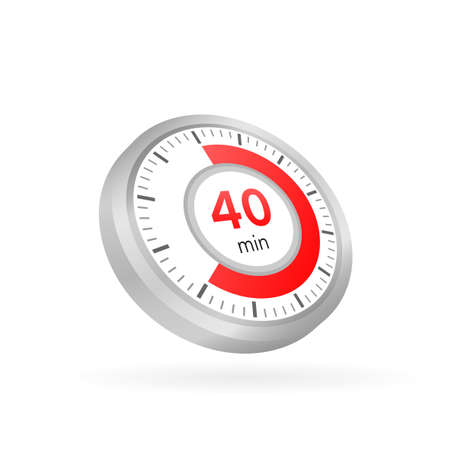 The 40 minutes, stopwatch vector icon. Stopwatch icon in flat style on a white background. Vector stock illustration.  イラスト・ベクター素材