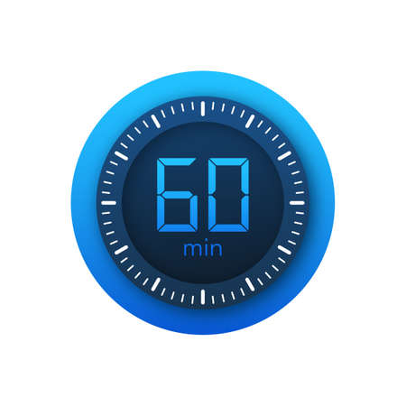 The 60 minutes, stopwatch vector icon. Stopwatch icon in flat style on a white background. Vector stock illustration.  イラスト・ベクター素材