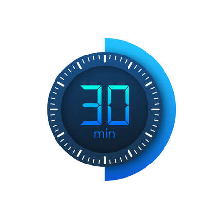 The 30 minutes, stopwatch vector icon. Stopwatch icon in flat style on a white background. Vector stock illustration. Vecteurs
