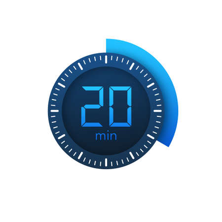 The 20 minutes, stopwatch vector icon. Stopwatch icon in flat style on a white background. Vector stock illustration.  イラスト・ベクター素材
