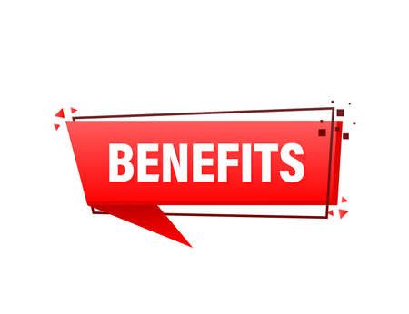 Benefits red banner in 3D style on white background. Vector illustration.