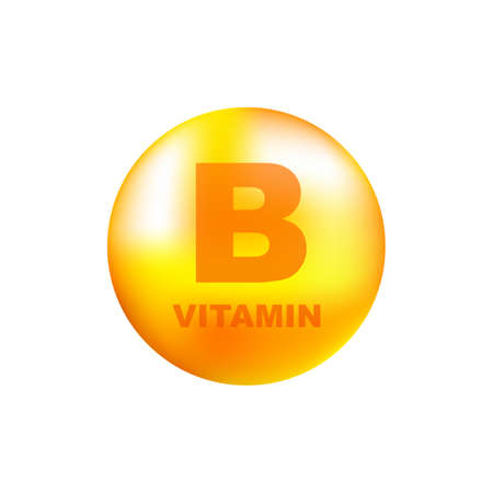 Vitamin B with realistic drop on gray background. Particles of vitamins in the middle. Vector illustration.