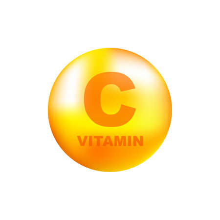 Vitamin C with realistic drop on gray background. Particles of vitamins in the middle. Vector illustration.
