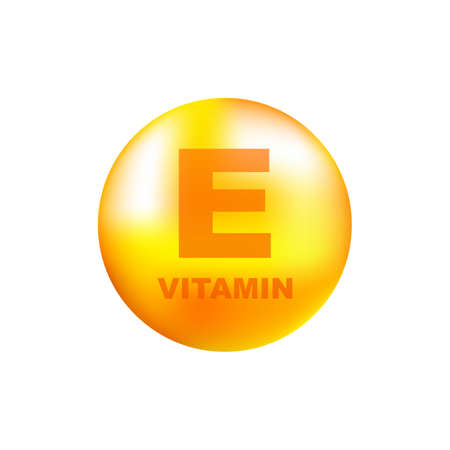 Vitamin E with realistic drop on gray background. Particles of vitamins in the middle. Vector illustration.
