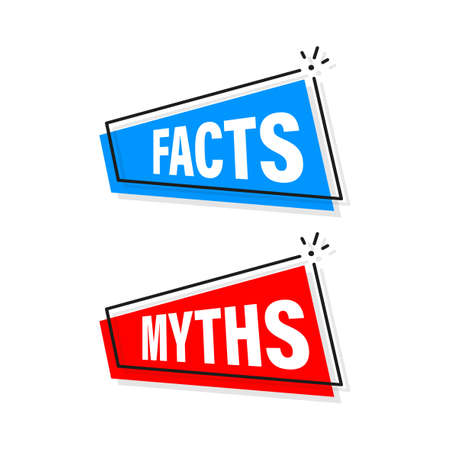 Facts and myths bubble isolated on white background. Symbol, logo illustration. Check mark icon vector design. Character for concept design. Logo