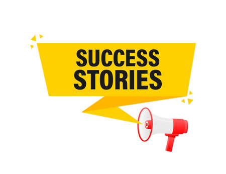 Success stories megaphone yellow banner in 3D style on white background. Vector illustration. Vector Illustration