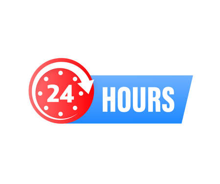 24 hours support in abstract style on white background. Customer service. Online support call center. Flat vector. Logo vector.