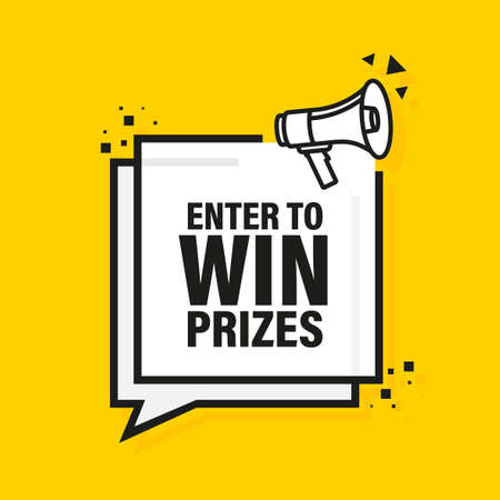 Enter to win prizes megaphone yellow banner in 3D style. Vector illustration.