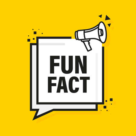 Fun fact feedback megaphone yellow banner in 3D style. Vector illustration.