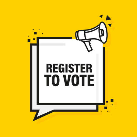 Register to vote megaphone yellow banner. Vector illustration.