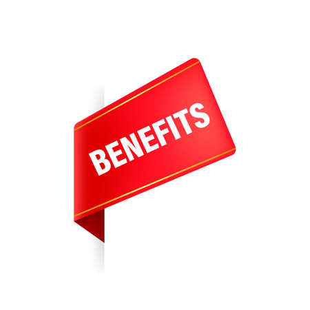 Benefits red ribbon in 3D style on white background. Vector illustration.