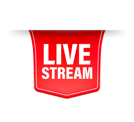 Live stream red ribbon in flat style on white background. Play video. Web media. Vector illustration. Ilustração