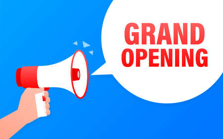 Grand opening blue banner in flat style. Vector illustration.