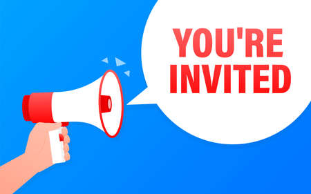 You are invited megaphone blue banner. Vector illustration.