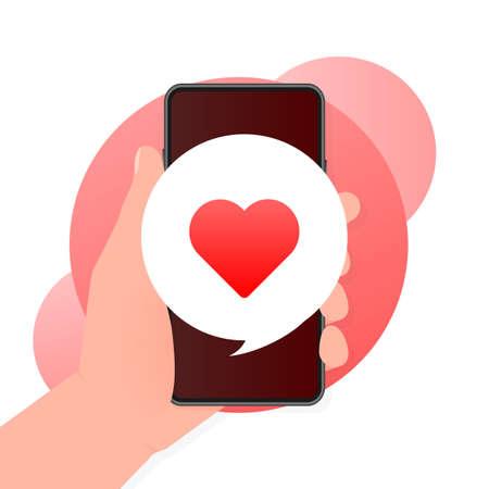 Flat like smartphone for marketing design. Icon for mobile app design. Smartphone mockup. Mobile internet, social media.