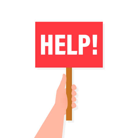 Help placard hand, great design for any purposes. Background vector illustration. Web design.