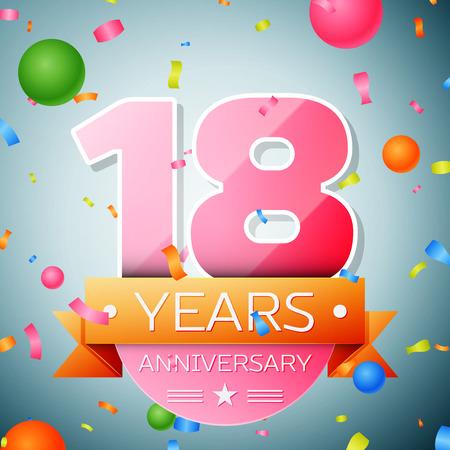 happy 18th birthday: Eighteen years anniversary celebration background. Anniversary ribbon
