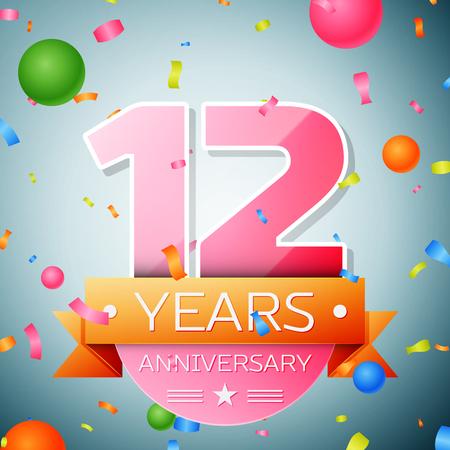 Twelve years anniversary celebration background. Anniversary ribbon