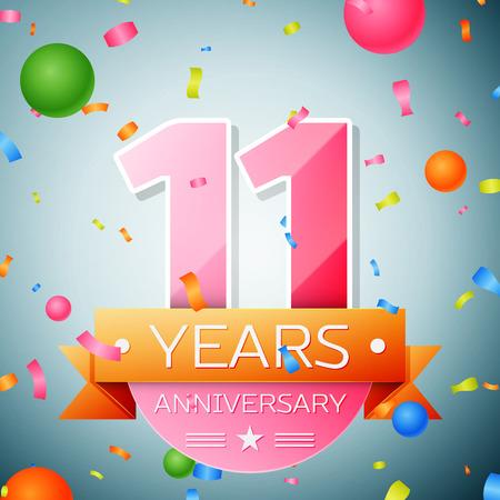 Eleven years anniversary celebration background. Anniversary ribbon