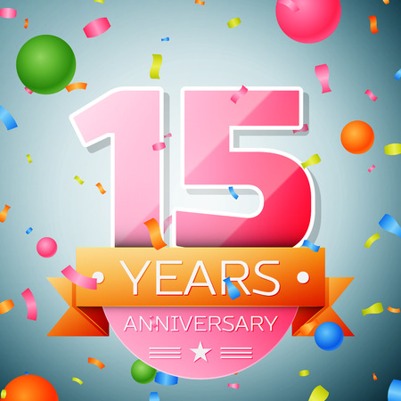 fifteen: Fifteen years anniversary celebration background. Anniversary ribbon