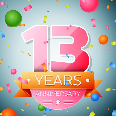 Thirteen years anniversary celebration background. Anniversary ribbon Illustration