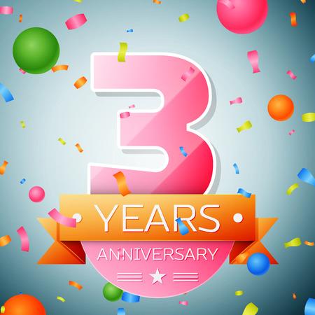 Three years anniversary celebration background. Anniversary ribbon Illusztráció